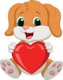 拿着红色心脏的狗动画片 免版税库存图片