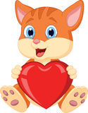 拿着红色牡鹿的动画片猫 免版税库存照片