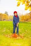 拿着红色犁耙的男孩清洗秋叶 免版税库存照片