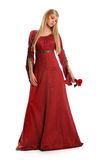 拿着红色玫瑰色妇女新 库存图片
