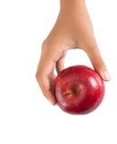 拿着红色苹果计算机IV的手 免版税库存图片