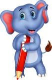 拿着红色铅笔的逗人喜爱的大象动画片 库存例证