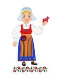 拿着纪念品的瑞典女孩 免版税库存照片