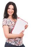 拿着纸的偶然女实业家 库存图片