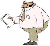 拿着纸的胖的商人 库存照片