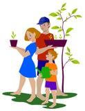 拿着绿色生长植物的幸福家庭 库存例证