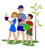 拿着绿色生长植物的愉快的孩子 库存例证