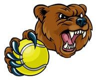 拿着网球的熊 库存例证