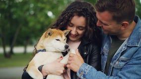 拿着美丽的家谱狗,看它和震动它的爪子的愉快的夫妇的慢动作然后接触它的鼻子 股票视频