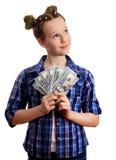 拿着美元的chekered衬衣的逗人喜爱的小孩女孩 库存照片