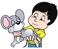 拿着老鼠的男孩 免版税库存图片