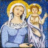 拿着耶稣基督的圣母玛丽亚马赛克 免版税库存图片