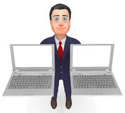 拿着膝上型计算机的商人表明空白和通信 免版税库存照片