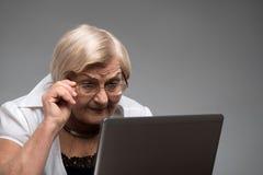 拿着膝上型计算机的年长妇女 免版税库存图片