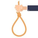 拿着自杀绳索的手 免版税库存图片