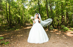 拿着花束的婚礼礼服的年轻新娘 库存照片
