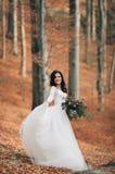 拿着花束的庄重装束的华美的深色的新娘摆在森林和湖附近 免版税库存图片