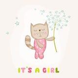 拿着花的女婴猫-婴儿送礼会或更改地址通知单 库存照片