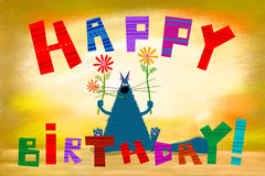拿着花的生日贺卡蓝色大肥胖猫 免版税库存照片