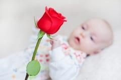 拿着花的花束逗人喜爱的女婴起来了 免版税图库摄影