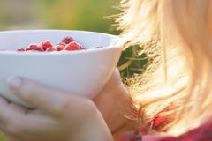 拿着莓的板材女孩,坐绿草,夏天,点心 免版税库存图片