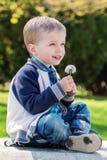 拿着蒲公英的愉快的小男孩 免版税库存照片