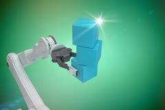 拿着蓝色框3d的机器人手的播种的图象的综合图象 免版税库存照片