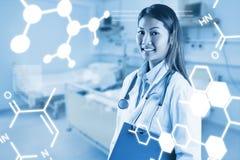 拿着蓝色黏合剂的亚裔医生的综合图象 免版税库存图片