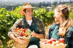 拿着蔬菜和水果的篮子愉快的农夫夫妇 免版税库存图片