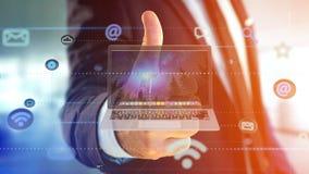 拿着计算机的商人围拢由app和社会ico 免版税图库摄影