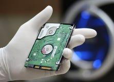 拿着计算机硬盘驱动器光盘 免版税库存图片
