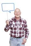 举行讲话泡影标志微笑的老人 图库摄影