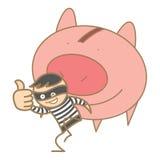 拿着货币猪的夜贼 免版税图库摄影