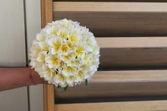 拿着赤素馨花花的花束手 库存照片