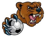 拿着足球的熊 向量例证