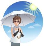拿着遮光罩伞的逗人喜爱的妇女在强的阳光下 免版税库存照片