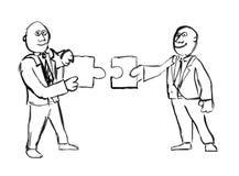 拿着配比的难题片断的两个商人贷方手图画  皇族释放例证