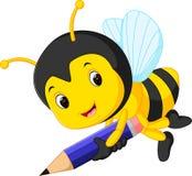 拿着铅笔的蜂 向量例证