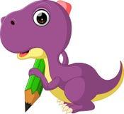 拿着铅笔的逗人喜爱的恐龙 免版税库存图片