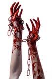 拿着链子,血淋淋的链子,万圣夜题材,白色背景的血淋淋的手,被隔绝 免版税库存照片