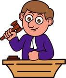 拿着锤子动画片例证的法官 免版税库存照片