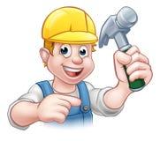 拿着锤子工具的安全帽的木匠杂物工 免版税库存图片
