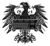 拿着键盘的老鹰 免版税库存照片