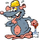 拿着锹的鼠的例证 免版税库存照片