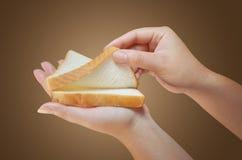 拿着面包的手 免版税库存照片