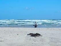 拿着鞋子和走在海滩的非洲人 免版税库存图片