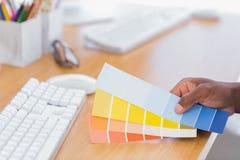 拿着颜色图表的室内设计师 图库摄影