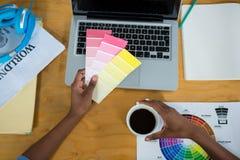 拿着颜色样片的女性图表设计师 免版税库存照片