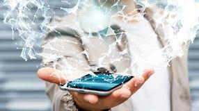 拿着飞行网络连接3D翻译的商人 免版税库存图片