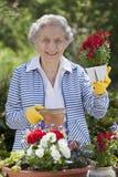 拿着高级微笑的妇女的花 免版税库存照片